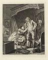 Vrouw hangt aan de arm van een man in een slaapkamer After (titel op object) Voor en na (serietitel) Before and after (serietitel), RP-P-OB-18.738.jpg