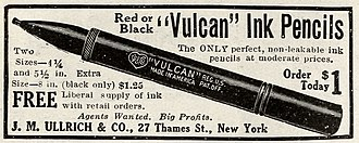 "Pen - 1915 advertisement for ""Vulcan"" Ink Pencils."
