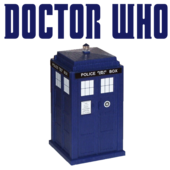 Doctor Who in lettering with blue police box graphic