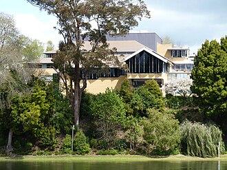 Hamilton Central - Waikato Museum, viewed from Hamilton East.