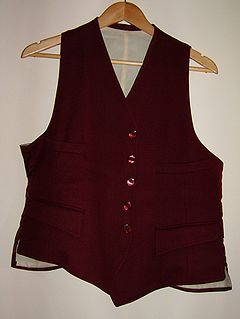 Waistcoat Garment for the upper body, usually sleeveless, extending to near the waist
