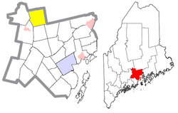Location of Troy (in yellow) in Waldo County and the state of Maine