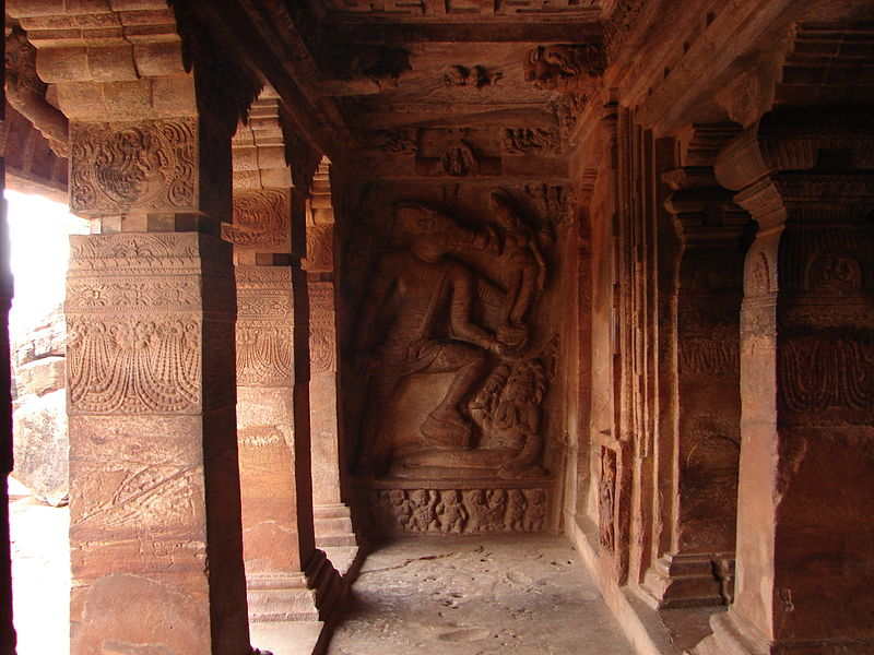 File:Wall relief1 at the Vaishnava cave temple no. 2 in Badami.JPG