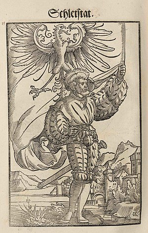 Sélestat - Engraving from Wapen des Heyligen Römischen Reichs Teutscher Nation (1545) with the coat of arms of Sélestat (at that time an eagle instead of a lion).