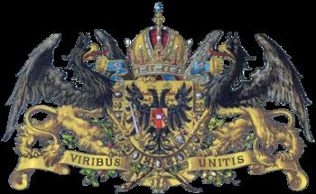 Wappen Kaiser Franz Josephs mit dem Wappenspruch Viribus Unitis - Mit vereinten Kräften