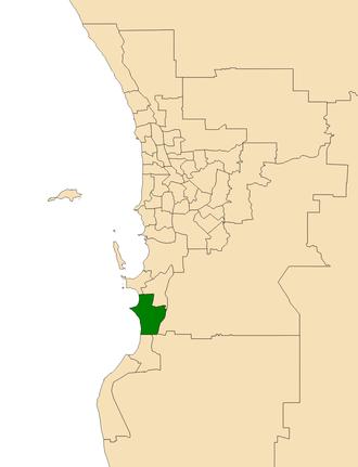 Electoral district of Warnbro - Location of Warnbro (dark green) in the Perth metropolitan area