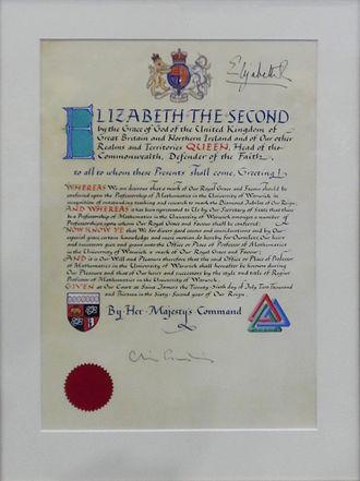 Regius Professor - Royal warrant creating a Regius Chair in Mathematics at the University of Warwick