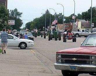 Washburn, North Dakota - 2007 Tractor Trek traveling down Main Ave. in Washburn