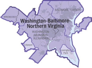 The official OMB-designated Washington-Baltimore-Northern Virginia, DC-MD-VA-WV Combined Statistical Area, based on the 2000 Census.