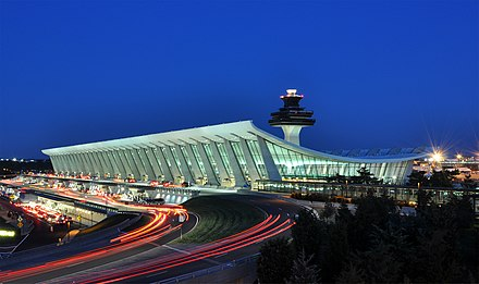 The main terminal of Washington Dulles International Airport is one of the few surviving examples of Space Age architecture. Washington Dulles International Airport at Dusk.jpg