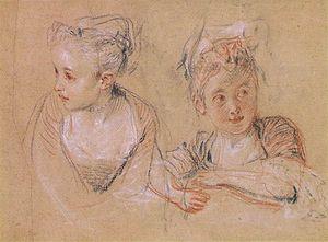Trois crayons - Image: Watteau jeune fille