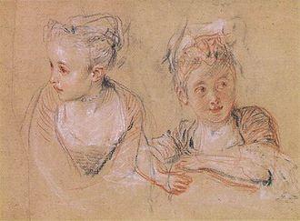 Drawing - Antoine Watteau, trois crayons technique