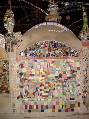 Watts Towers - Wall detail, with mosaic