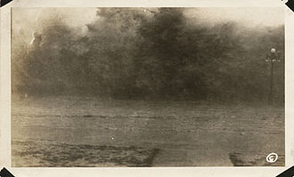 1915 Galveston hurricane - Waves on seawall, 4:30–5:00 p.m., August 16, 1915.