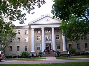 Wayland Academy, Wisconsin - Students hanging out on the steps of Wayland Hall