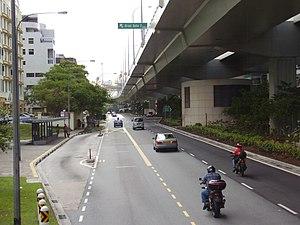 West Coast Highway, Singapore - West Coast Highway viaduct, just before exit ramp to container terminals. Below it is Telok Blangah Road.