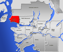 Location of West Vancouver in Greater Vancouver