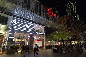 Pitt Street Mall - The facade of Westfield Sydney located on Pitt Street Mall