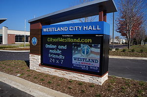 Westland, Michigan - The Westland City Hall Sign