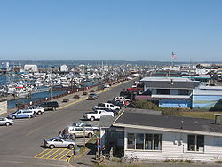 The marina district of Westport, looking east from the Westport Maritime Museum