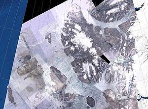 Sverdrup Islands - NASA Landsat photo of the Sverdrup Islands From left to right: Ellef Ringnes, Amund Ringnes, and Axel Heiberg islands.