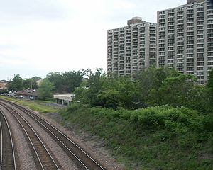 Wheaton, Illinois - Wheaton Center, from a pedestrian bridge over the Union Pacific Railroad tracks