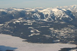 English: Aerial view of Whitefish Mountain Res...