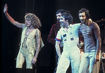 The four members of The Who in 1975 – Roger Daltrey, John Entwistle, Keith Moon and Pete Townshend