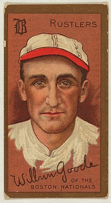 A baseball card image of a strong-nosed man in a white old-time baseball cap and shirt