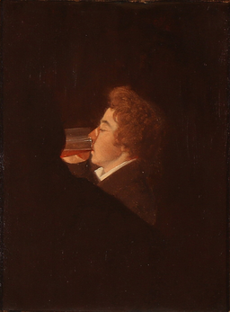 Wilhelm Bendz - Studie til maleriet Fincks Kaffehus i München 1