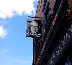 Wilko Johnson - Railway Hotel, Southend-on-Sea, pub sign featuring portrait of Wilko Johnson