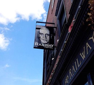 Wilko Johnson - Railway Hotel, Southend-on-Sea, pub sign featuring portrait of Wilko Johnson