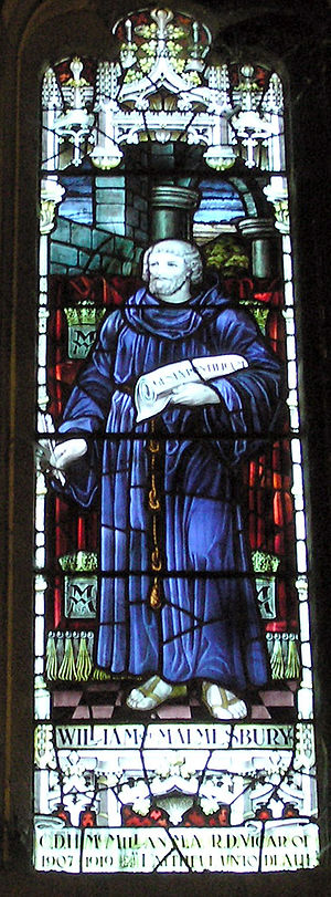 William of Malmesbury - Stained glass window showing William, installed in Malmesbury Abbey in 1928 in memory of Rev. Canon C. D. H. McMillan, Vicar of Malmesbury from 1907 to 1919.