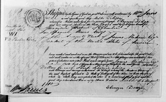 William Jarvis (merchant) - Bill of lading for two Spanish merino ewes, sent by Jarvis to President James Madison, 1810