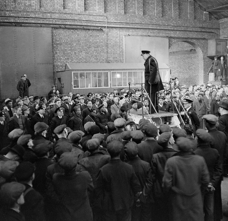 Winston Churchill addressing merchant ships' crews and dockers at Liverpool, April 1941. H9155