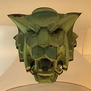 Isaac S. Taylor - Copper lion head fixture from the National Bank of Commerce Building on display at The Wolfsonian-FIU, Miami Beach, Florida.