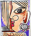 Woman's head with ear rings, Traditional wall painting by villagers, near Katni, M.P., India.jpg