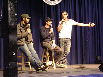 John Oliver - Wyatt Cenac, John Oliver, and Rory Albanese after performing comedy at Moravian College in Bethlehem, Pennsylvania in April 2009
