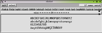 X Window System core protocol - Image: Xfontsel