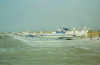 Sakha Avia - Three Tupolev Tu-154M of Sakha Avia parked at Yakutsk Airport.