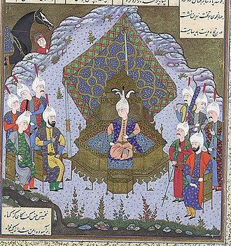 Yazdegerd II - 16th-century Shahnameh illustration of Yazdegerd II ascending the throne