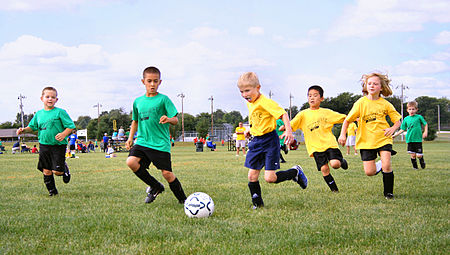 Sport in childhood. Association football, shown above, is a team sport which also provides opportunities to nurture physical fitness and social interaction skills. Youth-soccer-indiana.jpg