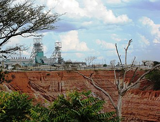 The major Nkana open copper mine, Kitwe. ZM-Nkana-headgear-Kitwe.jpg