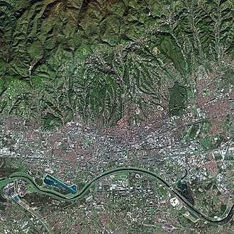 Republic of Peščenica - Satellite picture of Zagreb. Peščenica is on the northern side of River Sava, resembling a large whitish rectangular patch, northwards from the big white object next to the river.
