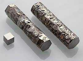 Zirconium crystal bar and 1cm3 cube.jpg
