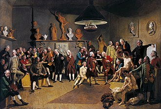 The Art Gallery of Jan Gildemeester Jansz - Johan Zoffany: The Academicians of the Royal Academy, 1772, Royal Collection of the United Kingdom. Jan Jansz. Gildemeester owned an engraving after this painting, which might have inspired the spontaneous figures in the work by Adriaan de Lelie.