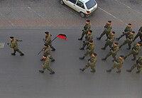 Zolnierze 11 Lubuskiej DKPanc na paradzie w Slubicach 11-11-2008