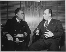 """Capt. Clifton Lastic, Master of Liberty Ship (SS) Bert Williams chats with Joe Curran, President of N.M.U. (National Ma - NARA - 542397.jpg"