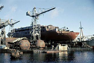 MV Funchal - Funchal under construction at Helsingor on February 5, 1961
