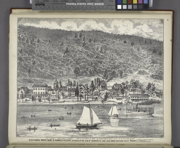 """File:""""No.1 Hotel., No.2 Bath Houses., No.3 Cottages to Rent., No.4 Boat Houses and Dance Hall., No.5 Billiard Room. Glen Haven Water Cure and Summer Resort, Situated at the Head of Skaneatles Lake, NYPL1583090.tiff"""